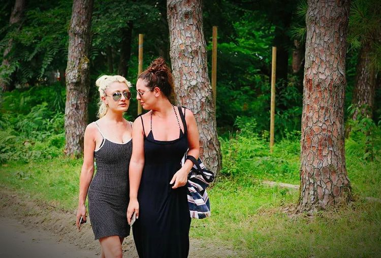 Hello World Thats Me ♥ Us Friends ❤ Girls Blonde And Brunette Walking Walking In The Woods Trees Summer Chatting Sunglasses Road Happy Time Green Nature Country Road
