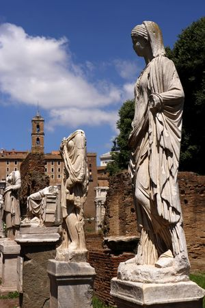 Statues among the ruined remains of the ancient roman forum (foro romano) in the centre of the city of Rome, Italy Architecture Art And Craft Creativity Nature Statue Sunlight Travel Photography Ancient Art Ancient Civilization Cloud - Sky Craft Day Female Likeness History Human Representation Low Angel View No People Representation Sculpture Sky Solid Stone Material The Past Tourist Destination Travel Destination