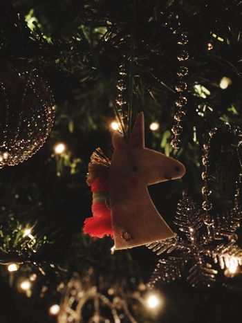 I believe in unicorns. Mood Unicorn Christmas Christmas Tree Celebration Christmas Decoration Tree Tradition Decoration Christmas Ornament Christmas Lights Hanging Night Holiday - Event Cultures No People Indoors  Celebration Event Close-up EyeEmNewHere AI Now EyeEm Ready