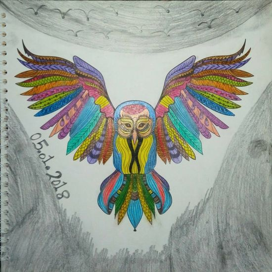 Just Freaking Love #Owls Coloring Coloring Mandalas!  Freaking Love This ^.^ Art And Craft Close-up Creativity Low Angle View Multi Colored