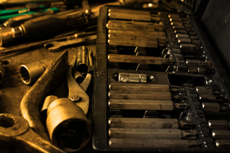 Backgrounds Choice Close-up Equipment High Angle View Indoors  Industry Large Group Of Objects Machinery Manufacturing Equipment Metal No People Old Printing Press Selective Focus Still Life Technology Toolbox Wood - Material Work Tool