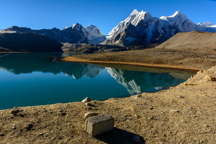 Gurudongmar Calm Gurudongmar Mountain Mountain Lake Physical Geography Reflection Sikkim Snow Peaks Tranquil Scene
