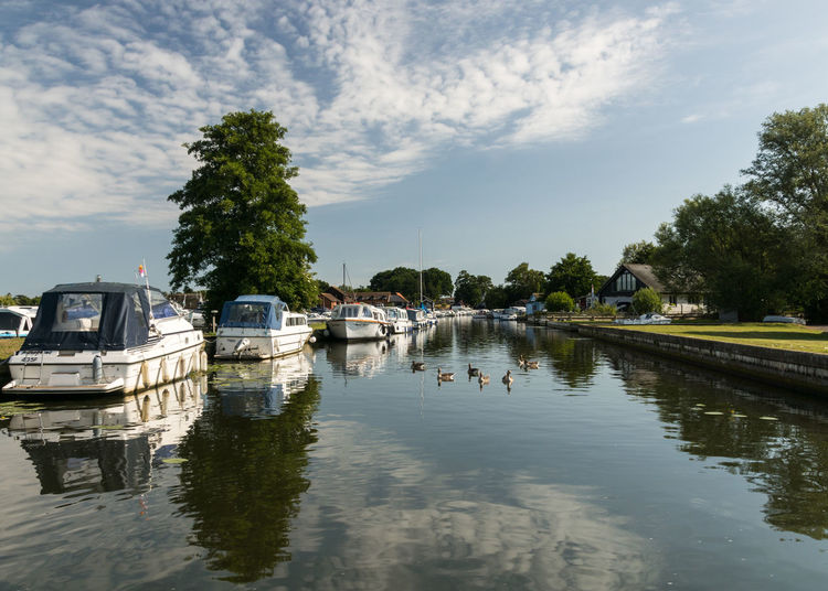 Norfolk Broads Riverside Beauty In Nature Boats Cloud - Sky Day Ducks Lake Mode Of Transportation Moored Nature Nautical Vessel No People Outdoors Plant Reflection River Sky Summer Tourism Transportation Travel Tree Water Waterfront