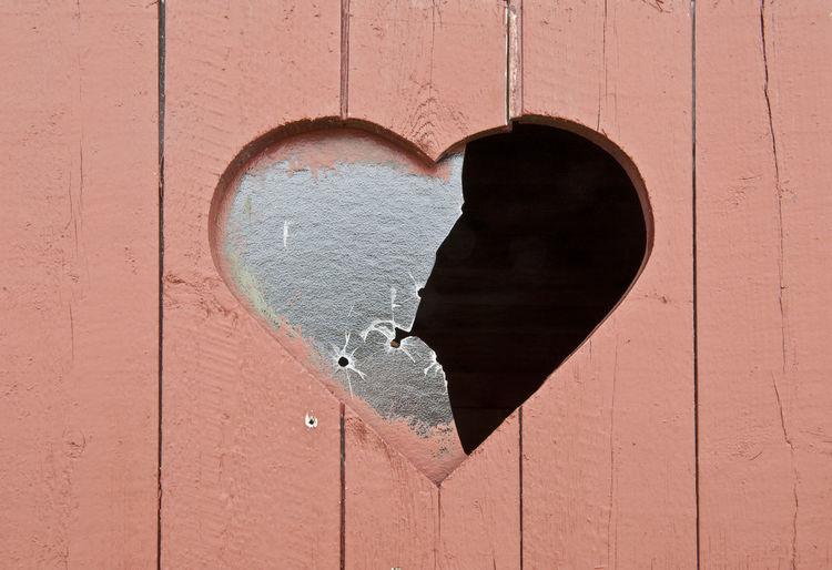 Broken Glass Broken Heart Door Glass Heart Shape Love Outdoors Toilet Wood - Material