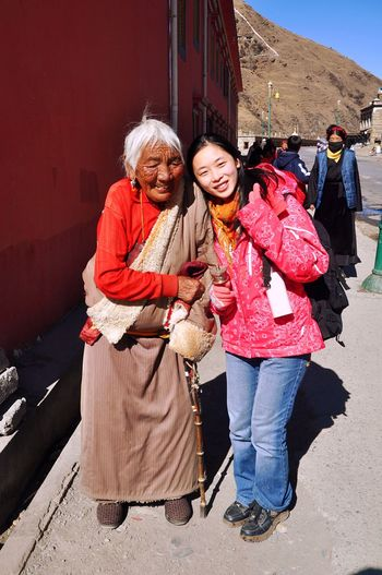 Old Woman Tibetan Woman Old Woman Senior Adult Looking At Camera Senior Women Smiling Women Happiness Two People People Tagong Sichuan China Ex Girlfriend Chinese Beauty