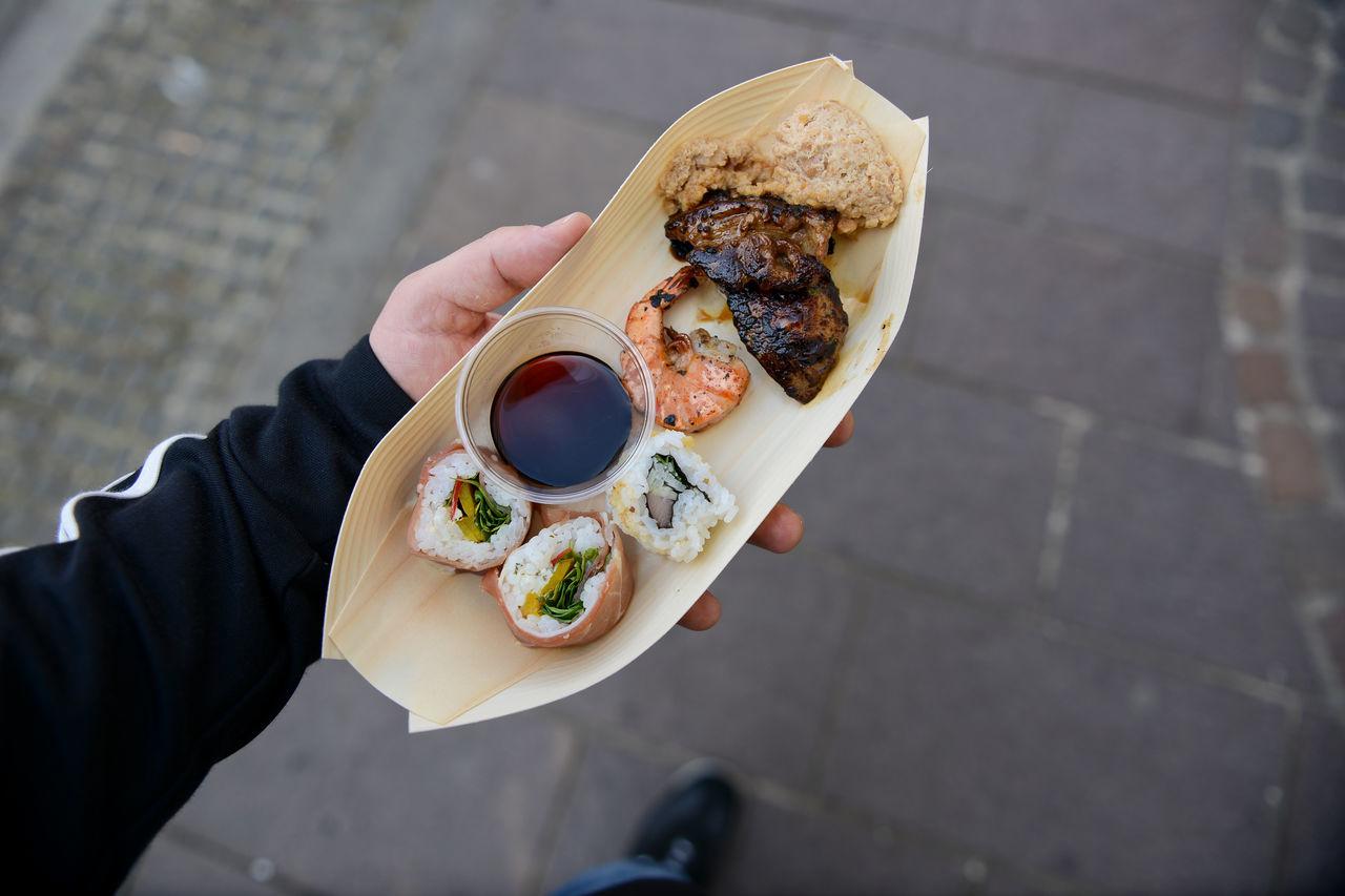 Man holding food
