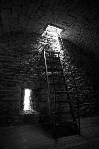 Abandoned Architecture Black & White Black And White Brick Wall Built Structure Darkness And Light Day Illuminated Indoors  Ladder Medieval No People Stairs