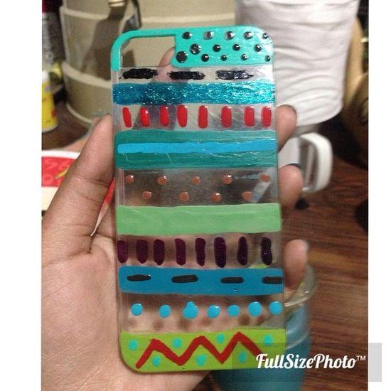From broken case to this random Aztec DIY Iphone5case Naillacquer