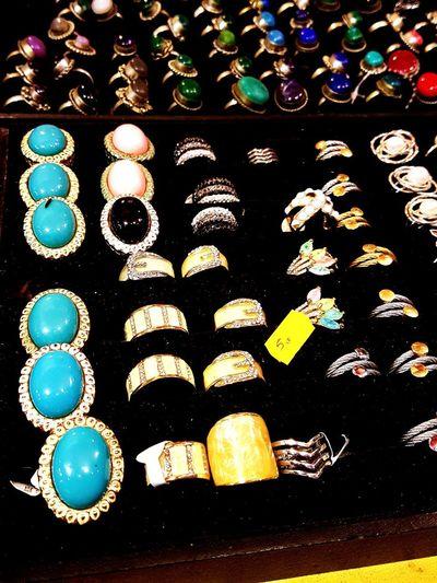 Variation Large Group Of Objects Multi Colored Jewels Jewlery Market Street Islamic Festival Mértola Alentejo,Portugal