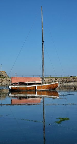 Boat moored on shore against clear blue sky