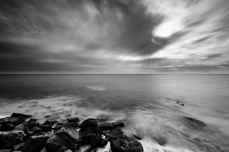 Liguria - Riviera Di Ponente Sanremo Italy Landescape Mare Fotografia Photography Bnw Blackandwhite Photography Blackandwhite Black And White Long Exposure Bnw_collection Bnw_captures Wave Water Sea Beach Storm Cloud Sand Sunset Tide Sky Horizon Over Water Lightning Dramatic Sky Seascape Atmospheric Mood