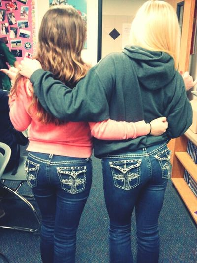 me and milah, matching jeans(: