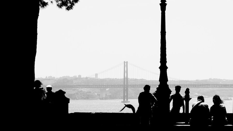 Silhouette people looking at view against clear sky