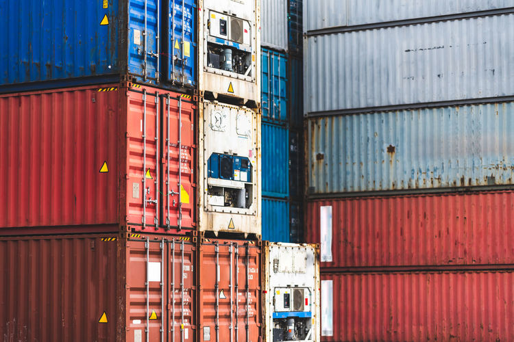 Full frame shot of containers at harbor