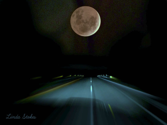 Driving From My Point Of View Full Moon Astronomy Driving Around Fullmoon Illuminated Lonely Road Moon Night No People Outside