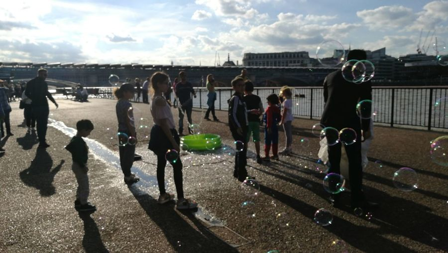 London Southbank Children Playing With Soapy Bubbles