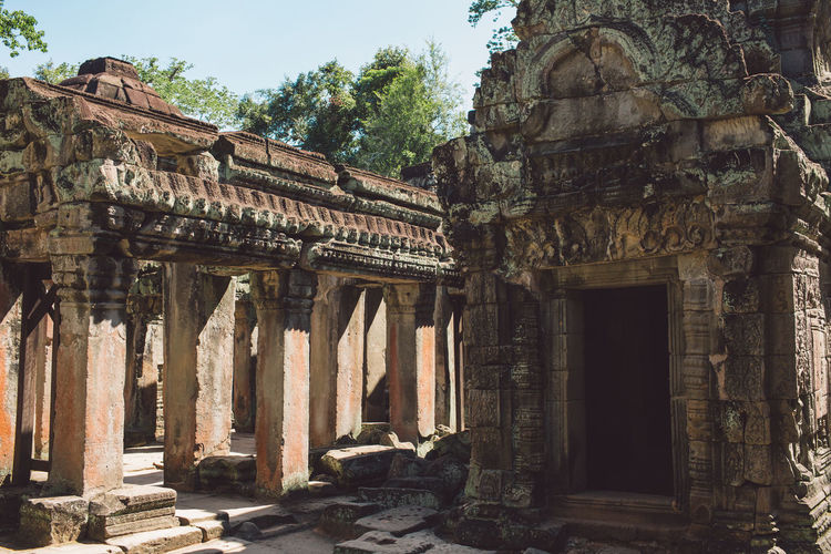 Siem Reap Cambodia Angkor Built Structure Architecture History The Past Ancient Place Of Worship Architectural Column Old Ancient Civilization Old Ruin Travel Destinations Building Day Religion Belief No People Nature Building Exterior Tourism Archaeology Outdoors Ruined