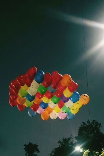 Multi Colored Nature Celebration Low Angle View Hanging Decoration Balloon Sky Lighting Equipment No People Illuminated Large Group Of Objects Outdoors Baloonography Baloon In Love Baloons☺️ Baloons🎈 Baloon Hearts Baloons In Sky EyeEmNewHere