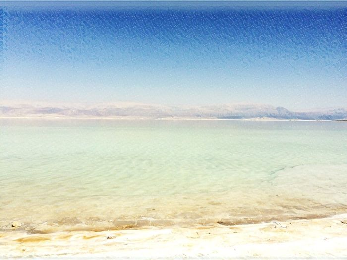 Mountains Sea Shore Blue Sky Water The Dead Sea Sun Bright