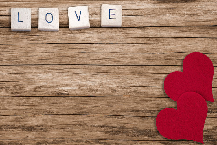 Love and hearts Wood Red Letter Love High Angle View Blank Heart Shape Text Wood - Material Brown Valentine's Day  Valentine Greeting Greeting Card  Romance Romantic Wedding Card Marriage  Copy Space Engagement Backgrounds Two People Couple Symbol