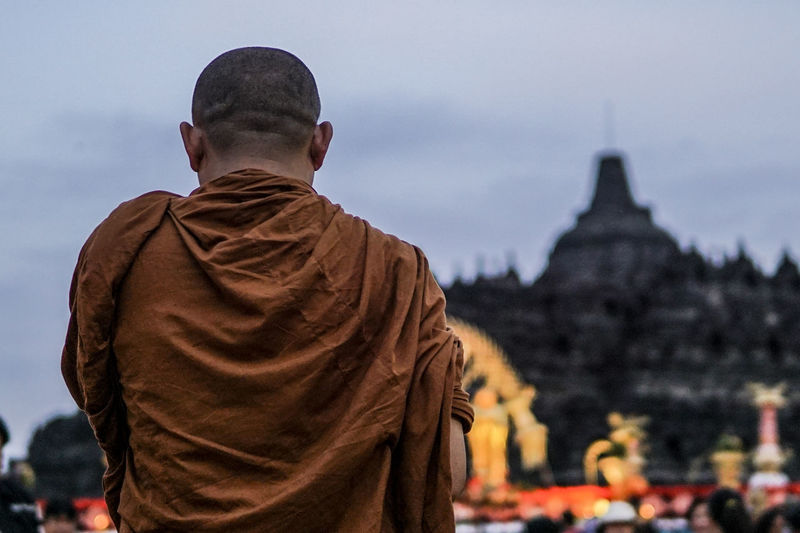Ancient Borobudur Buddha Buddhism Budhist Temple Place Of Worship Rear View Religion Spirituality Travel Destinations The Photojournalist - 2017 EyeEm Awards The Portraitist - 2017 EyeEm Awards Monk