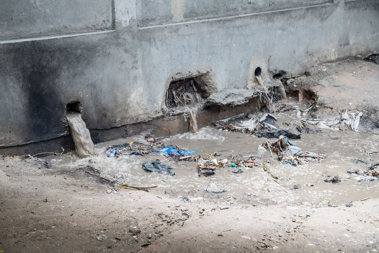 High angle view of garbage in building