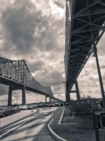 Crescent City Connection Architecture Bridge Bridge - Man Made Structure Built Structure City Cloud - Sky Connection Day Engineering No People Outdoors Road Sky Suspension Bridge The Way Forward Transportation Travel Destinations
