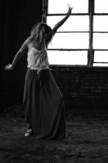 Sway Long Skirt Fashion Hippe Bohemian Stylish Woman Pretty Tank Top Abandoned Places Window Windows_aroundtheworld Natural Light Brick Urbex Full Length Young Women Dancer Dancing Long Hair