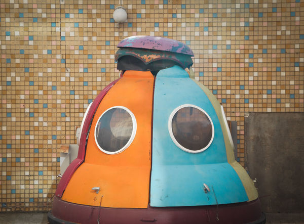 Now it's time to leave the capsule, if you dare... Architecture Design Object Orange Color Blue Colour Space Exploration Outdoors No People Future Generation Future Exploring New Ground