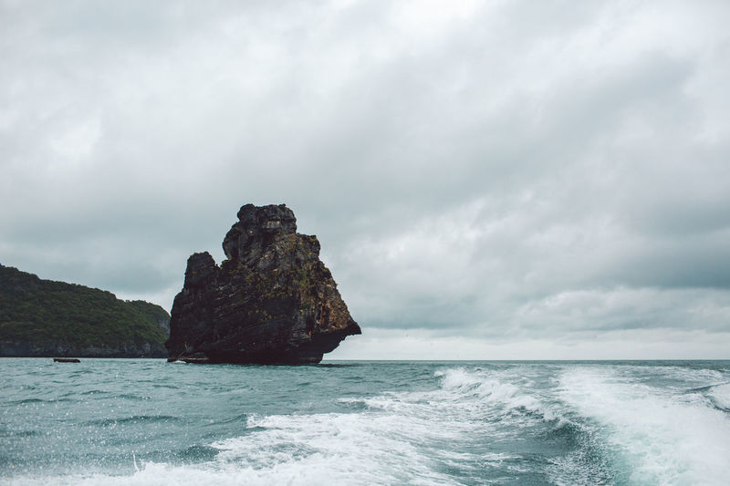 Sea Water Sky Beauty In Nature Scenics - Nature Rock Cloud - Sky Horizon Rock - Object Nature Land Horizon Over Water No People Wave Motion Rock Formation Tranquility Solid Outdoors Power In Nature Stack Rock