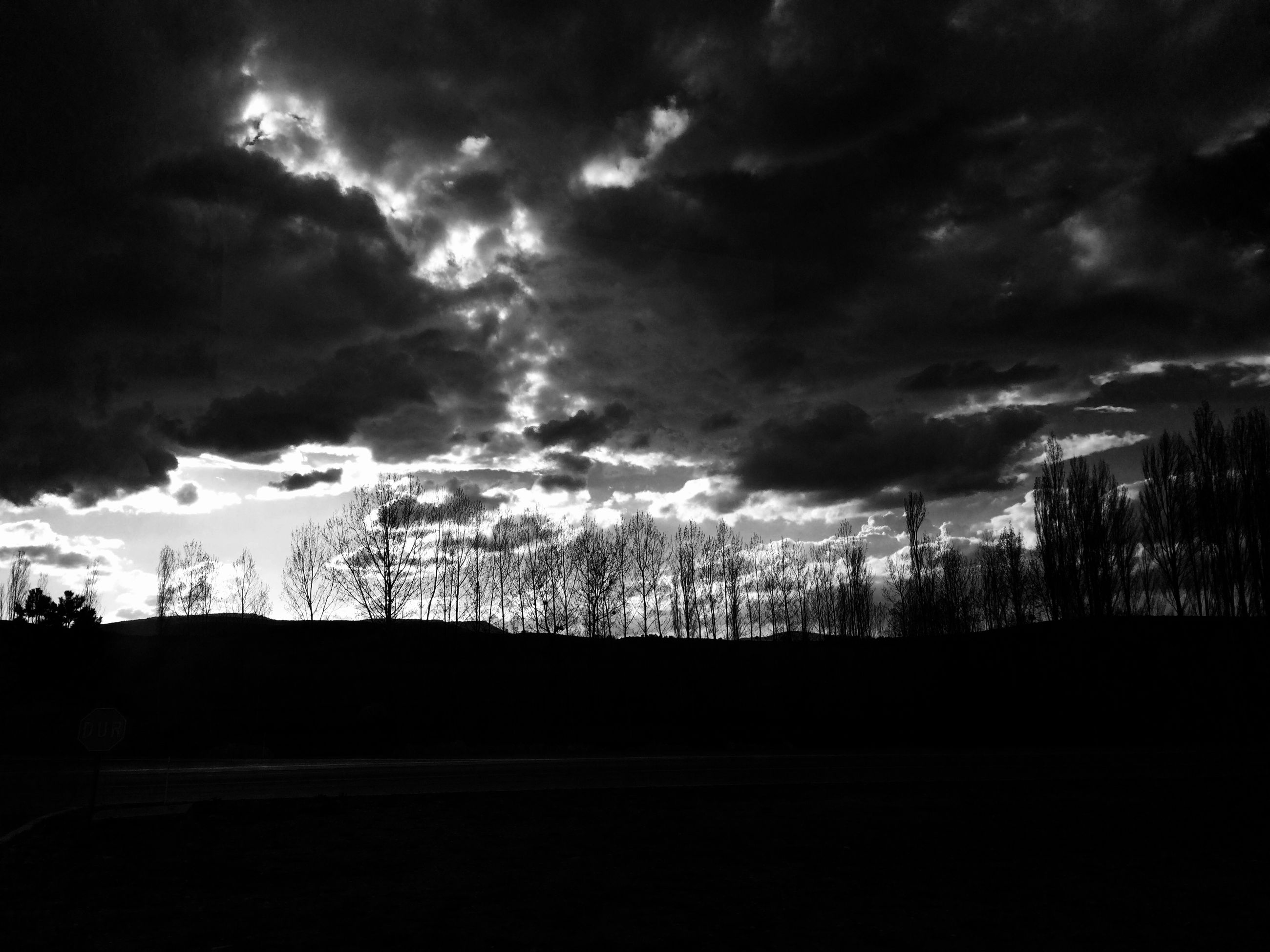 sky, silhouette, cloud - sky, tree, cloudy, tranquility, tranquil scene, landscape, nature, scenics, dark, field, cloud, beauty in nature, dusk, overcast, weather, storm cloud, bare tree, low angle view