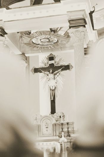 The King & Saviour Church Cross High Jesus Christ King Pray Worship Close-up Crucifix Day Indoors  Kneeling Down Low Angle View No People Place Of Worship Religion Saviour Sculpture Son Spirituality Statue