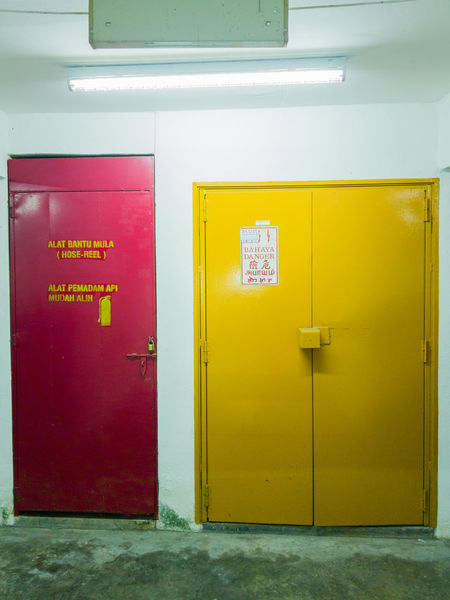 red and yellow door Multi Colored Yellow Red Business Finance And Industry Door Close-up Architecture Restroom Sign Disabled Sign Parking Sign Information Sign Information Symbol Arrow Sign No Parking Sign Toilet Closed Lock Public Building Fire Extinguisher Doorknob Public Restroom