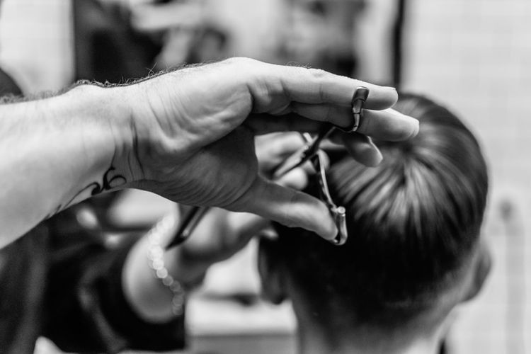 chop-chop Barbershop Black Black And White Blackandwhite Close-up Depth Of Field Focus On Foreground Hands Hands At Work Human Body Part Human Finger Human Hand Scissors Work Working