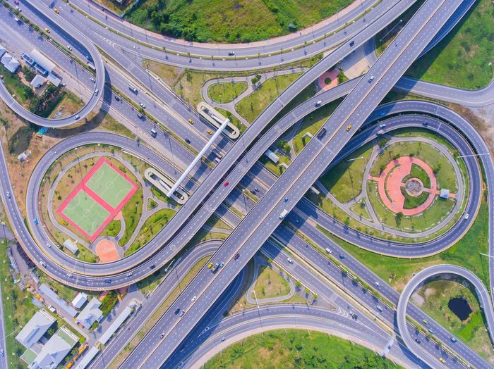 Interchange Way Aerial View High Angle View Road Highway Transportation Multiple Lane Highway Overpass City Architecture Outdoors No People Day