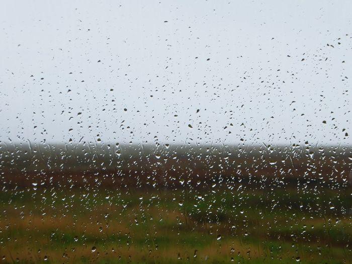 Raindrops On The Window Marsh Mist Grey Day Estuary View