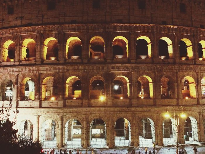 Visiting Rome Architecture Arch Built Structure Building Exterior History Night Illuminated No People Outdoors Ancient Travel Destinations Arts Culture And Entertainment Ancient Civilization Colesseum Colesseo Italy Rome