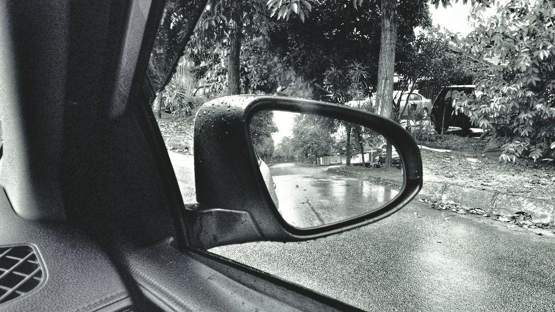 Reflection Rainy Days Roadside Black And White
