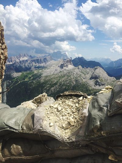 Italy Italia Grandeguerra Trincee Gallery Lagazuoi Mountain Nature Day Beauty In Nature Cloud - Sky Sky Mountain Range Landscape Tranquility No People Outdoors Scenics Physical Geography Mountains Panorama Dolomites, Italy Enjoying The View Nowar Peace