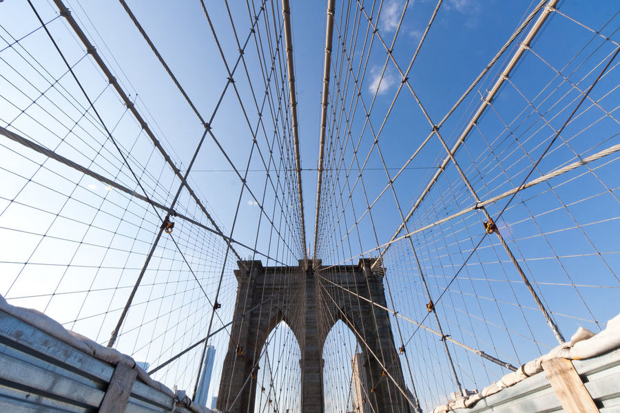 Architecture Bridge - Man Made Structure Brooklyn Brooklyn Bridge  Brooklyn Bridge / New York Brooklynbridge Building Exterior Built Structure Connection Day Low Angle View New York New York Street Photography No People Outdoors Sky Suspension Bridge