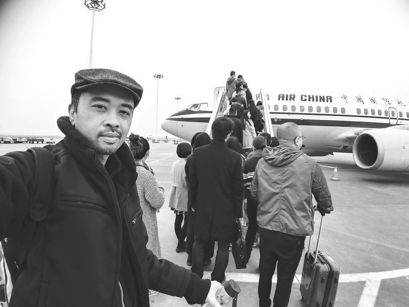 Catching A Flight Thats Me  Air China AirPlane ✈ Airport Photography Black And White Bw Monochrome Self Portrait Selfie ✌