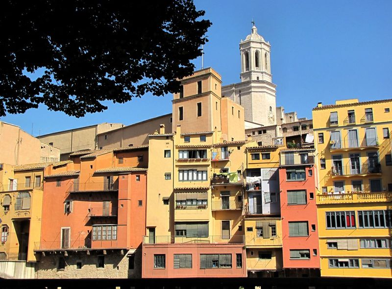 Architecture Blue Building Building Exterior Built Structure City City Life Day Façade Girona Cathedral Girona City No People Outdoors Oñar River Residential Building Residential District Sky Travel Destinations
