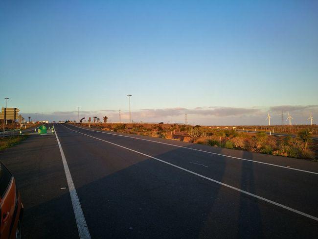 Drivingshot Roadside Shots Clear Sky Landscape Outdoors Sky HuaweiP9 Las Palmas De Gran Canaria Sunset Day The City Light