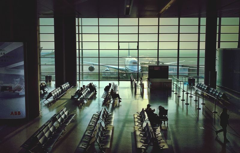 Airport Shanghai Architecture Airport Transportation Built Structure Day Mode Of Transportation No People High Angle View Transparent Airport Terminal Window Indoors  Public Transportation Glass - Material Travel Flooring Lobby Tiled Floor City