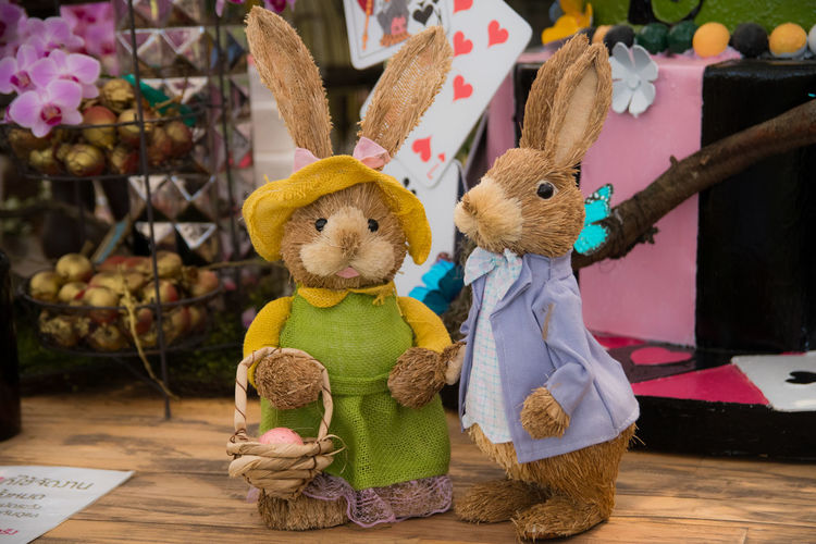 Representation Toy Stuffed Toy Animal Representation Art And Craft Creativity Indoors  Still Life No People Basket Holiday Craft Easter Container Teddy Bear Table Celebration Close-up Choice Softness Rabbit