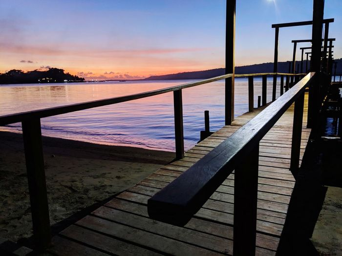 Water Sea Sunset Beach Horizon Dawn Bridge - Man Made Structure Blue Boardwalk Wooden Post Pier Jetty Calm Coastline Railing Dock