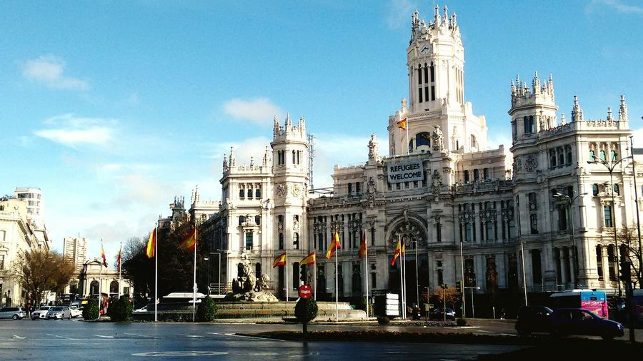 Architecture Travel Destinations City Blue Building Exterior Cultures Clear Sky No People Cityscape Outdoors Sky Day Madrid, Spain Cibeles Ayuntamiento De Madrid Refugees Welcome Refugeeswelcome Rain Rain☔ RainyDay