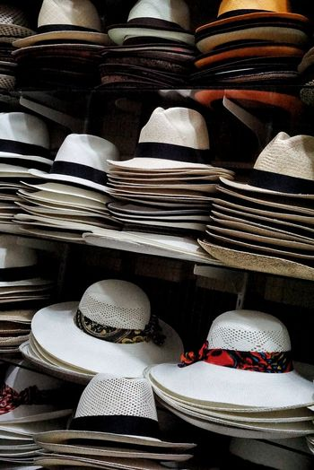 Stack Of Hats In Row