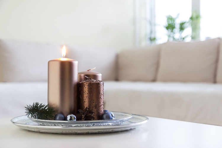 Christmas Deko Light Birthday Cake Burning Cake Candle Close-up Day Decoration Flame Freshness Indoors  Living Room No People Plate Salon Season  Table