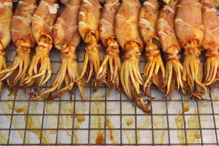 Close-up of calamari for sale at fish market